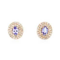 14KT Rose Gold 1.40 ctw Tanzanite and Diamond Earrings