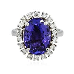14KT White Gold 6.53 ctw Tanzanite and Diamond Ring