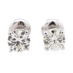 14KT White Gold 1.24 ctw Diamond Solitaire Earrings