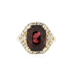 14KT Yellow Gold 7.04 ctw Rubellite Tourmaline and Diamond Ring