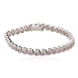 18KT White Gold 2.62 ctw Pink Sapphire and Diamond Bracelet