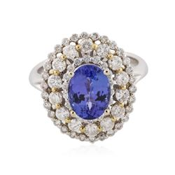 18KT Two-Tone Gold 2.28 ctw Tanzanite and Diamond Ring