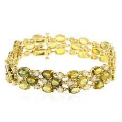 14KT Yellow Gold 37.44 ctw Yellow Sapphire and Diamond Bracelet