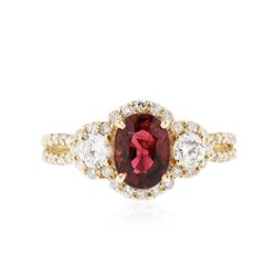 14KT Yellow Gold 1.42 ctw Rubellite and Diamond Ring