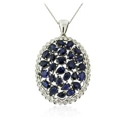 14KT White Gold 15.12 ctw Sapphire and Diamond Pendant With Chain
