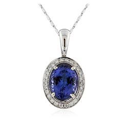 18KT White Gold 7.20 ctw Tanzanite and Diamond Pendant With Chain