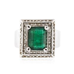 14KT White Gold 4.14 ctw Emerald and Diamond Ring