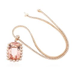 14KT Rose Gold 48.30 ctw GIA Certified Morganite and Diamond Pendant With Chain