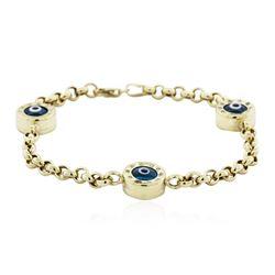 14KT Yellow Gold 0.30 ctw Diamond Evil Eye Bracelet