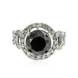 14KT White Gold 6.34 ctw Black Diamond Ring