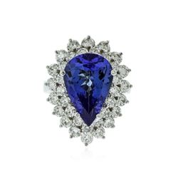 14KT White Gold 6.85 ctw Tanzanite and Diamond Ring
