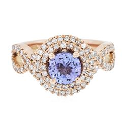 14KT Rose Gold 1.20 ctw Tanzanite and Diamond Ring