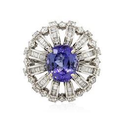 18KT White Gold 3.11 ctw Tanzanite and Diamond Ring