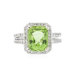 14KT White Gold 4.89 ctw Peridot and Diamond Ring