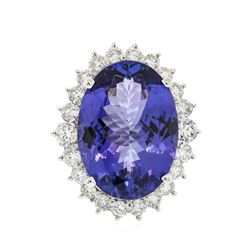 14KT White Gold GIA Certified 23.77 ctw Tanzanite and Diamond Ring