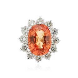 18KT White Gold 13.48 ctw Orange Sapphire and Diamond Ring