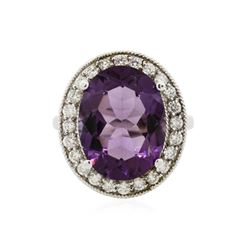 14KT White Gold 7.92 ctw Amethyst and Diamond Ring