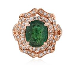 14KT Rose Gold 2.49 ctw Emerald and Diamond Ring