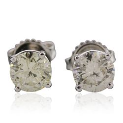 14KT White Gold 1.87 ctw Diamond Stud Earrings