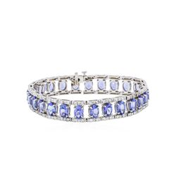 14KT White Gold 19.75 ctw Tanzanite and Diamond Bracelet