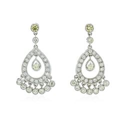 14KT White Gold 4.07 ctw Diamond Dangle Earrings
