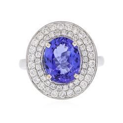 18KT White Gold 3.25 ctw Tanzanite and Diamond Ring