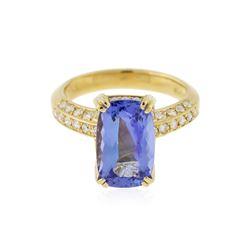 18KT Yellow Gold 3.89 ctw Tanzanite and Diamond Ring