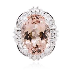 14KT White Gold 13.08 ctw Morganite and Diamond Ring