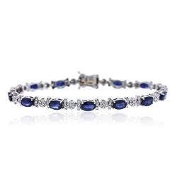 14KT White Gold 8.25 ctw Sapphire and Diamond Bracelet