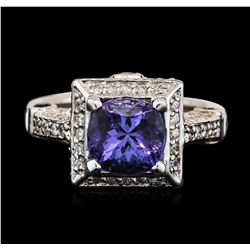 14KT White Gold 2.42 ctw Tanzanite, Sapphire and Diamond Ring