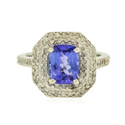 14KT White Gold 1.75 ctw Tanzanite and Diamond Ring