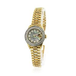 Ladies Rolex 18KT Yellow Gold 1.60 ctw Diamond DateJust Wristwatch