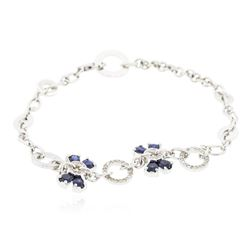 14KT White Gold 2.56 ctw Sapphire and Diamond Bracelet