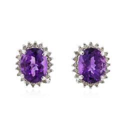 14KT White Gold 3.42 ctw Amethyst and Diamond Earrings