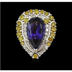 18KT White Gold GIA Certified 13.94 ctw Tanzanite and Diamond Ring