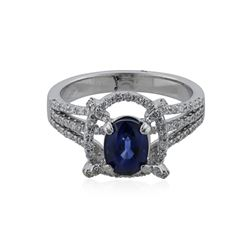 18KT White Gold 1.55 ctw Sapphire and Diamond Ring