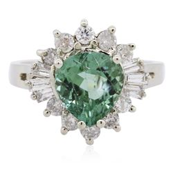 14KT White Gold 2.74 ctw Tourmaline and Diamond Ring