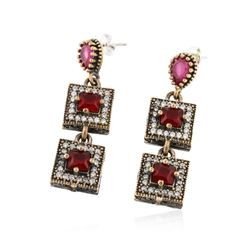 SILVER 8.16 ctw Red Crystal and Cubic Zirconia Earrings