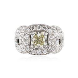 18KT White Gold 3.43 ctw Fancy Yellow Diamond Ring