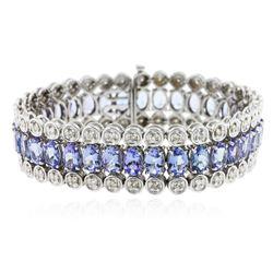10KT White Gold 20.84 ctw Tanzanite and Diamond Bracelet