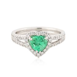 14KT White Gold 0.89 ctw Emerald and Diamond Ring