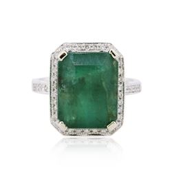 14KT White Gold 9.90 ctw Emerald and Diamond Ring