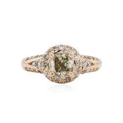 14KT Rose Gold 1.48 ctw Fancy Yellowish Green Diamond Ring