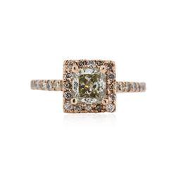 14KT Rose Gold 1.38 ctw Fancy Green Diamond Ring