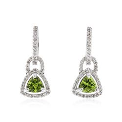14KT White Gold 1.62 ctw Peridot and Diamond Earrings
