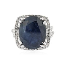 18KT White Gold 14.09 ctw Sapphire and Diamond Ring