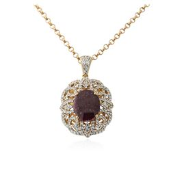 PLATED SILVER 17.69 ctw Ruby and White Sapphire Pendant With Chain