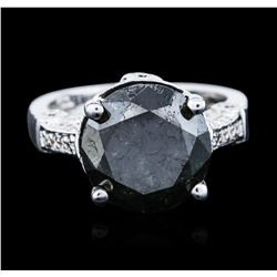 14KT White Gold 7.18 ctw Black Diamond Ring