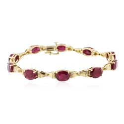 14KT Yellow Gold 15.30 ctw Ruby Bracelet