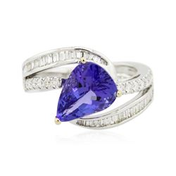 18KT White Gold 3.59 ctw Tanzanite and Diamond Ring